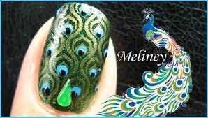 konad stamping nail art emerald peacock nails design green