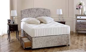 cream crushed velvet 5ft king size divan bed base only