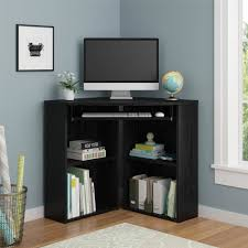 Black Corner Computer Desk With Hutch by Mainstays Solar Glass Top Desk Black Walmart Com