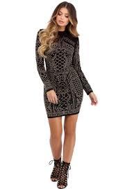 corinne black stud formal dress