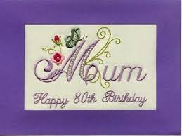 embroidered handmade personlised 80th birthday greeting cards