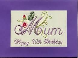 embroidered handmade personlised mum 80th birthday greeting cards
