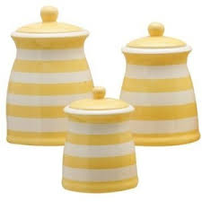 yellow canister sets kitchen terramoto ceramic 3 stripes canister set yellow home