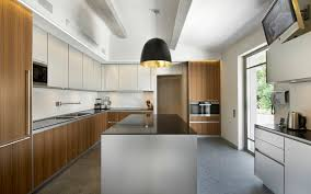 Interior Designs For Kitchen Stock Photo Interior Design Of A Modern Kitchen In White And Brown