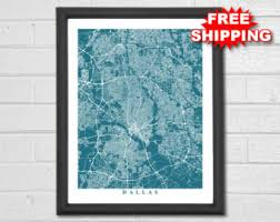 Home Decor Dallas Tx Dallas Map Etsy