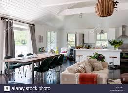 kitchen sofa furniture open plan white living space with ikea kitchen units knoll saarinen