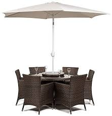 Savannah Outdoor Furniture by Savannah Rattan Round Glass Dining Table And 6 Seat Chair Set