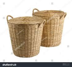 cane laundry hamper handmade basket old fashioned thai style stock photo 93142843