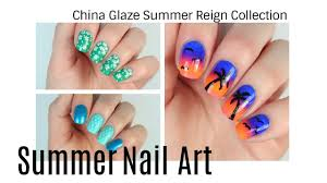 3 nail art designs using china glaze summer reign youtube