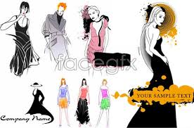 fashion dress model clothes painting sketches vector free download