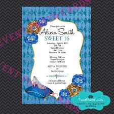 glass slipper sweet 16 invitations princess blue quinceanera