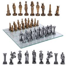 egypt vs rome chess set with glass board 3 3 4 inch high chess