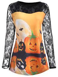 t shirts halloween t shirts orange 5xl halloween pumpkin moon lace insert plus size