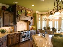 Varnish Kitchen Cabinets Warm Kitchen Flooring Green Stained Plastering Wall Wooden Varnish