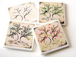 4 season oak tree ceramic tile coasters four season table
