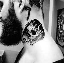 50 traditional neck tattoos for men old ink ideas