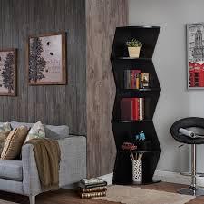 corner bookcase furniture furniture of america zaggers geometric 5 shelf corner bookcase