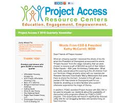 2016 quarterly e newsletter project access