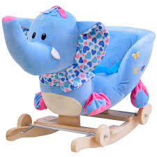 kingtoy plush elephant baby rocking chair children wood swing seat