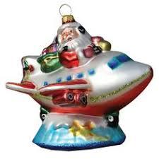 santa and snowman tree aircraft ornament set of 2