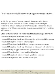 top 8 commercial finance manager resume samples 1 638 jpg cb u003d1431768753