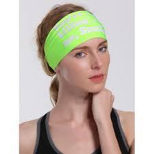 headband sport letters pattern sport cycling headband in neon green