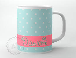 baby mugs personalized coffee cup baby blue small polka dots with coral