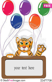 happy birthday card with funny tiger and balloons free stock