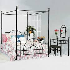 Metal Canopy Bed crown mark foundry queen canopy bed with metal frame and bed knobs