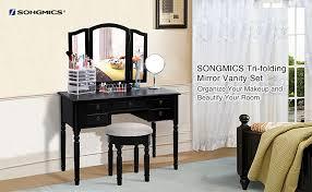 Vanity Folding Mirror Amazon Com Songmics Vanity Set Tri Folding Mirror Make Up