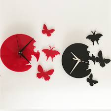 clock oil picture more detailed picture about hot sale free diy fashion disk butterfly wall clock decoration clock