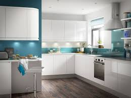 cooke and lewis kitchen cabinets white gloss kitchen units blue duck egg walls wooden floor