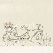 tandem bicycle with flower basket stock vector art 523895999 istock