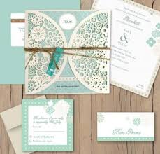 wedding invitation packages vintage lace laser cut package soft blue and curve pattern with