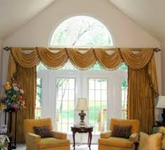 Curtains For Large Picture Window Drapes With A Long Swag Treatment Looks Great With This Large