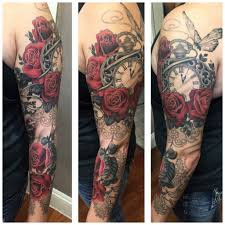 dreamcatcher sleeve tattoos pocket watch butterfly roses black and gray tattoo tattoo
