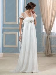 Wedding Dresses Maternity Fashion High Waist Beading Short Sleeves A Line Maternity Wedding