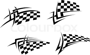 tribal tattoos set with racing flag for sport design stock