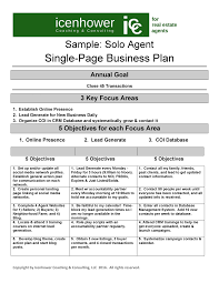 the one page real estate business plan sample solo agent 2 cmerge