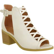 womens ladies low wedge heel sandals lace up cut out shoes ankle