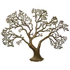 Tree Of Life Home Decor Bijan Brass Bonsai Tree Of Life Wall Hanging Sculpture At 1stdibs