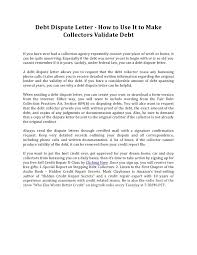 debt dispute letter how to use it to make collectors validate debt