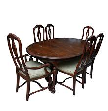 vintage chippendale style oak dining table and chairs by hekman