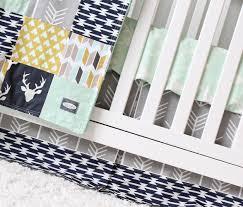 Canadian Crib Bedding Woodlands Crib Bedding Navy Deer Grey Arrow Mustard