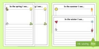 weather and seasons writing frames and worksheets page 1