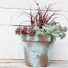 diy copper patina clay pot succulent planter the happy housie