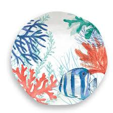 sea life 12 piece melamine dinnerware set with lobster salad plate