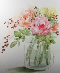 aquarelle facile magazine bouquet of roses original watercolor painting flowers laide