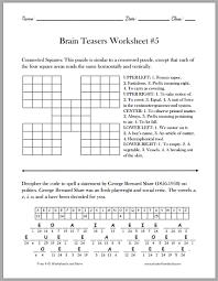 brain teasers worksheet 5 student handouts