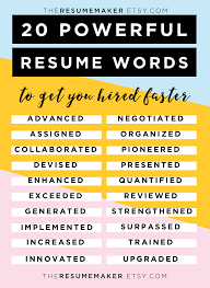 Eye Catching Words For Resume Resume Power Words Free Resume Tips Resume Template Resume